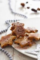 Star-shaped biscuits with cinnamon and icing sugar for Christmas 22199080302| 写真素材・ストックフォト・画像・イラスト素材|アマナイメージズ