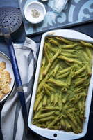 Penne bake with pea puree