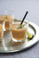 Cocktails with fruit puree and mint