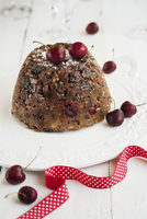 Christmas pudding with cherries
