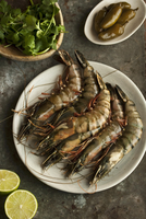 Raw king prawns, coriander, limes and chillies