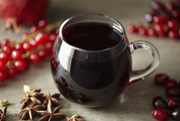Mulled wine in a glass teacup