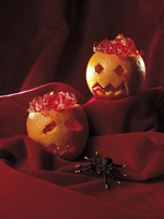 Orange skulls filled with jelly for Halloween