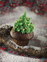 A Christmas cupcake with green icing