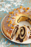 Yeast-raised cake with poppy seed paste for Christmas