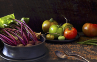 Still Life of Different Tomatoe Kinds and Red Beets