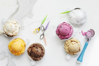Scoops of Different Flavored Ice Creams