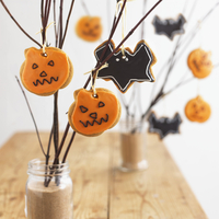 A variety of Halloween cookies hanging on branches 22199080900| 写真素材・ストックフォト・画像・イラスト素材|アマナイメージズ