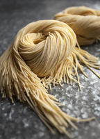 Nests of fresh Asian thread noodles