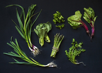 Still life featuring fresh, green vegetables