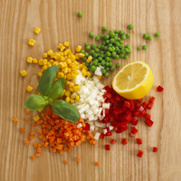 Sweetcorn, peas and diced carrots, peppers and onions