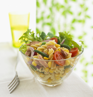 Pasta salad with fusilli, tuna and vegetables