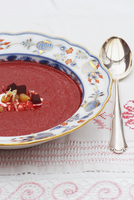 Beetroot soup with horseradish yoghurt and caramelised apple