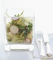 White cabbage salad with radishes and rocket