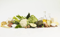 A large still life of vegetables
