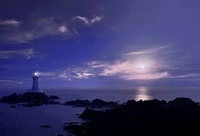 Lighthouse at night, Jersey, Channel Islands, United Kingdom