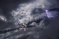 Aeroplane in storm (conceptual composite image)