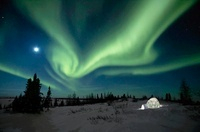 Northern Lights and Igloo, Manitoba, Canada