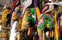 Elephants painted and decorated in preparation for the Eleph