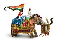 Elephant, mahout and flag-bearer all dressed for the Jaipur