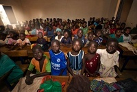Village school classroom full of children, Dogon Country, Ma