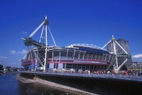 21 August 1999: An external view of the Millennium Stadium,