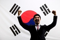 Businessman With Background Of The National Flag Of Korea