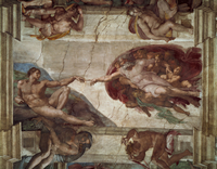 Center of the ceiling: Creation of Adam [before restoration]