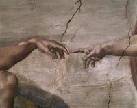 Center of the ceiling: Creation of Adam - detail (the hands)