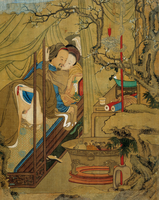 Art asiatique : scene erotique. Un couple durant l'acte d'