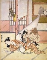 Scene erotique.Estampe japonaise. Vers 1770
