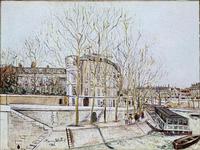 the Hotel Lambert on the quai d�fAnjou�f View of the quais de Seine on the Ile Saint Louis with a bateau mouche.1925