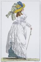 Fashion, France, 18th century. Robe en chemise et chapeau a la colonne, 1787.