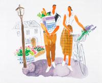 買い物をして並んで歩くカップル 22252002678| 写真素材・ストックフォト・画像・イラスト素材|アマナイメージズ