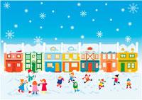 雪だるまと遊ぶ子供達 イラスト