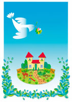 住宅と鳥 イラスト