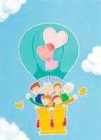 3世帯家族と気球 イラスト