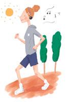 ジョギングする女性 イラスト