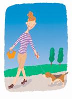 犬の散歩をする女性 イラスト
