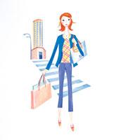ショッピングをする女性 イラスト