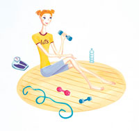 エクササイズをする女性 イラスト