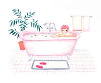 入浴する女性 イラスト