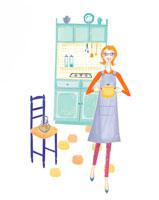料理をする女性 イラスト