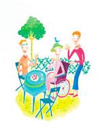 車椅子にのった高齢者イメージ イラスト