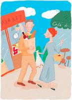 ショッピングをする熟年カップル イラスト