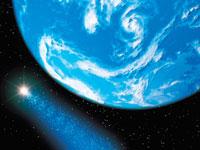 宇宙イメージ 地球と彗星 CG
