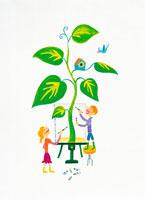 木を描く女の子と男の子 イラスト