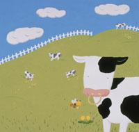 牛と牧場 イラスト
