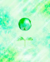 新緑の地球と新芽