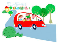 街をドライブする家族